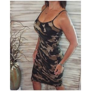 Dresses & Skirts - Camouflage Bodycon Fitted Spaghetti Dress 2119
